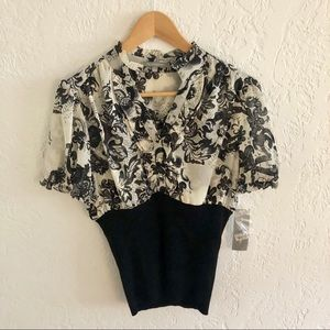 NWT! NY Collection Chiffon Blouse Rib Sweater Hem
